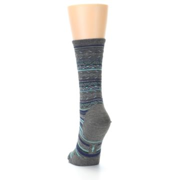 Image of Taupe Blue Stripe Wool Women's Casual Socks (side-2-back-16)