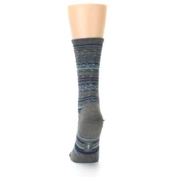 Image of Taupe Blue Stripe Wool Women's Casual Socks (back-17)