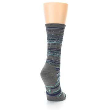 Image of Taupe Blue Stripe Wool Women's Casual Socks (side-1-back-20)