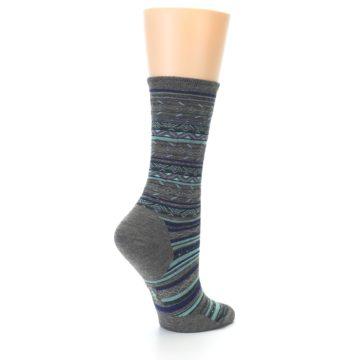 Image of Taupe Blue Stripe Wool Women's Casual Socks (side-1-back-22)