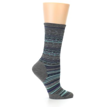 Image of Taupe Blue Stripe Wool Women's Casual Socks (side-1-24)