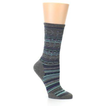 Image of Taupe Blue Stripe Wool Women's Casual Socks (side-1-25)