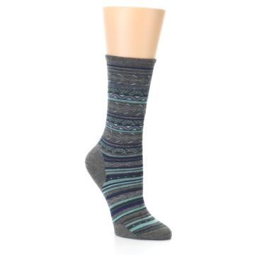 Image of Taupe Blue Stripe Wool Women's Casual Socks (side-1-26)
