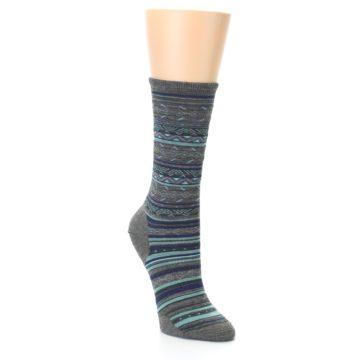 Image of Taupe Blue Stripe Wool Women's Casual Socks (side-1-27)