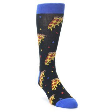 Image of Black Blue Pizza Men's Dress Socks (side-1-front-02)