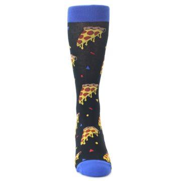 Image of Black Blue Pizza Men's Dress Socks (front-04)