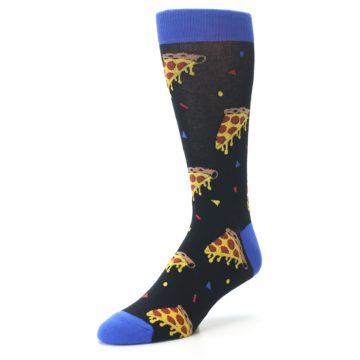 Image of Black Blue Pizza Men's Dress Socks (side-2-front-08)