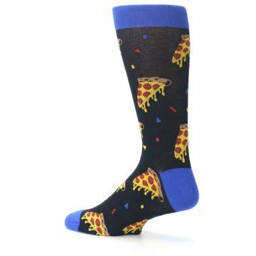 Image of Black Blue Pizza Men's Dress Socks (side-2-13)