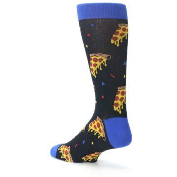 Image of Black Blue Pizza Men's Dress Socks (side-2-back-14)