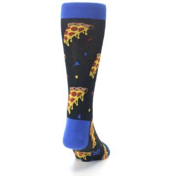 Image of Black Blue Pizza Men's Dress Socks (back-19)