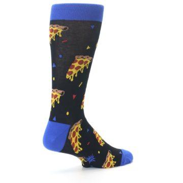 Image of Black Blue Pizza Men's Dress Socks (side-1-back-22)