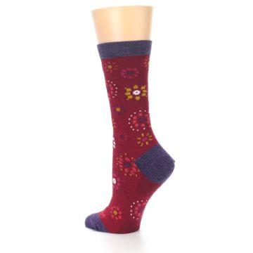 Image of Cranberry Red Burst Wool Women's Socks (side-2-back-14)
