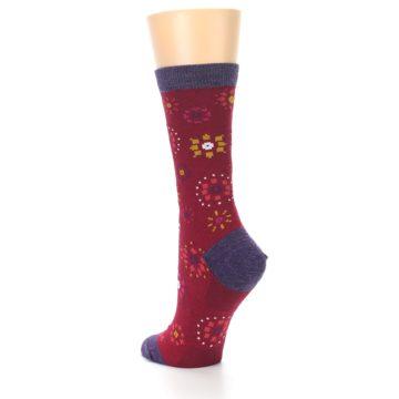 Image of Cranberry Red Burst Wool Women's Socks (side-2-back-15)