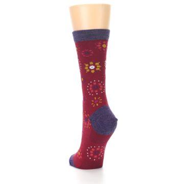 Image of Cranberry Red Burst Wool Women's Socks (side-2-back-16)