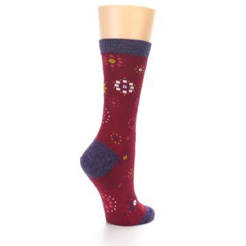 Image of Cranberry Red Burst Wool Women's Socks (side-1-back-22)
