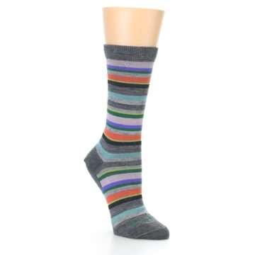 Image of Grey Purple Sassy Stripe Wool Women's Socks (side-1-front-02)