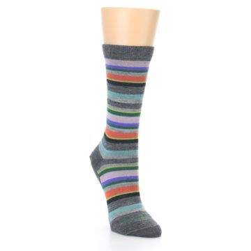 Image of Grey Purple Sassy Stripe Wool Women's Socks (side-1-front-03)