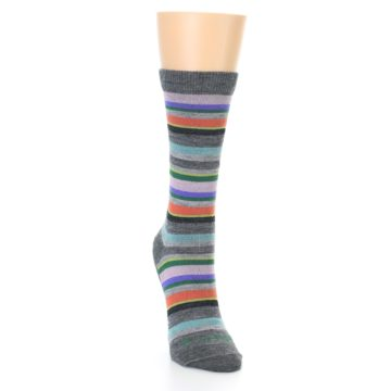 Image of Grey Purple Sassy Stripe Wool Women's Socks (front-04)