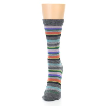 Image of Grey Purple Sassy Stripe Wool Women's Socks (side-2-front-07)