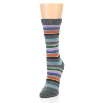Image of Grey Purple Sassy Stripe Wool Women's Socks (side-2-front-08)