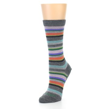 Image of Grey Purple Sassy Stripe Wool Women's Socks (side-2-09)
