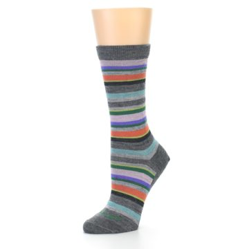 Image of Grey Purple Sassy Stripe Wool Women's Socks (side-2-10)