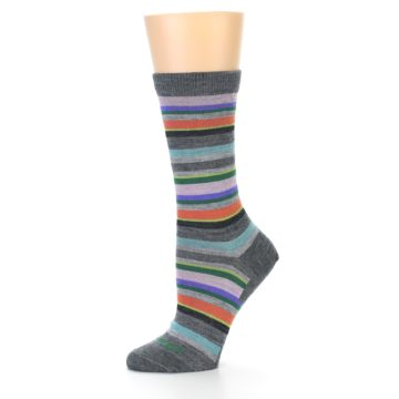 Image of Grey Purple Sassy Stripe Wool Women's Socks (side-2-11)