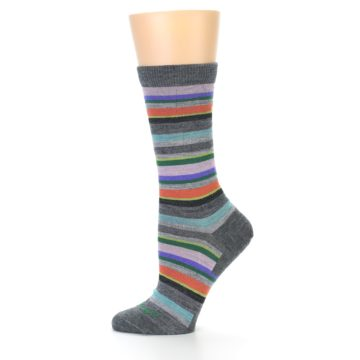 Image of Grey Purple Sassy Stripe Wool Women's Socks (side-2-12)