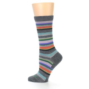 Image of Grey Purple Sassy Stripe Wool Women's Socks (side-2-13)