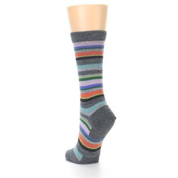 Image of Grey Purple Sassy Stripe Wool Women's Socks (side-2-back-16)