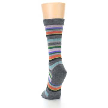Image of Grey Purple Sassy Stripe Wool Women's Socks (back-17)
