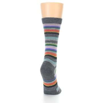 Image of Grey Purple Sassy Stripe Wool Women's Socks (side-1-back-20)