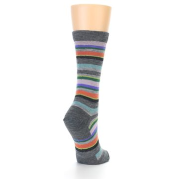 Image of Grey Purple Sassy Stripe Wool Women's Socks (side-1-back-21)