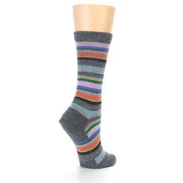 Image of Grey Purple Sassy Stripe Wool Women's Socks (side-1-back-22)