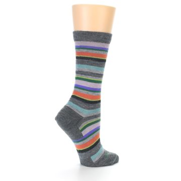 Image of Grey Purple Sassy Stripe Wool Women's Socks (side-1-23)