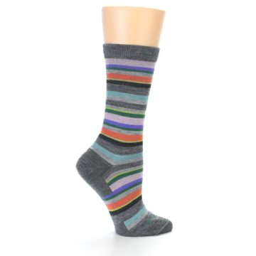 Image of Grey Purple Sassy Stripe Wool Women's Socks (side-1-24)