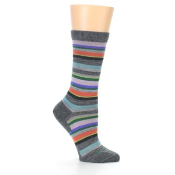 Image of Grey Purple Sassy Stripe Wool Women's Socks (side-1-26)