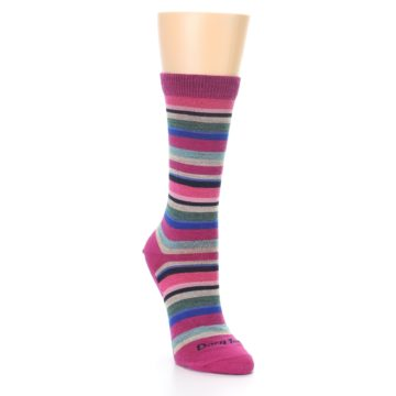 Image of Berry Pink Sassy Stripe Wool Women's Socks (side-1-front-02)