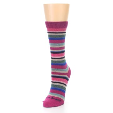 Image of Berry Pink Sassy Stripe Wool Women's Socks (side-2-front-07)