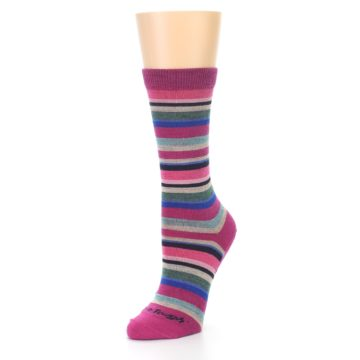 Image of Berry Pink Sassy Stripe Wool Women's Socks (side-2-front-08)