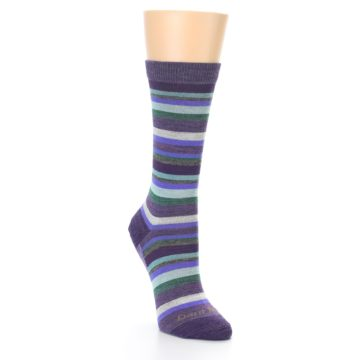 Image of Plum Purple Sassy Stripe Wool Women's Socks (side-1-front-02)