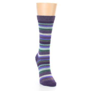 Image of Plum Purple Sassy Stripe Wool Women's Socks (side-1-front-03)