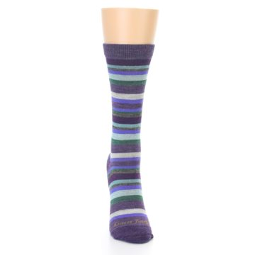 Image of Plum Purple Sassy Stripe Wool Women's Socks (front-04)
