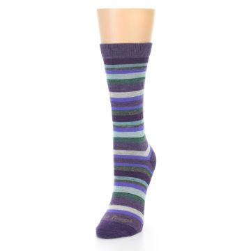 Image of Plum Purple Sassy Stripe Wool Women's Socks (side-2-front-07)