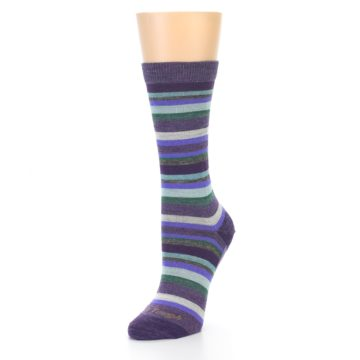 Image of Plum Purple Sassy Stripe Wool Women's Socks (side-2-front-08)