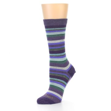 Image of Plum Purple Sassy Stripe Wool Women's Socks (side-2-09)