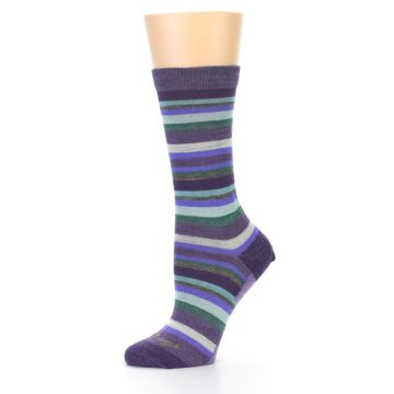 Image of Plum Purple Sassy Stripe Wool Women's Socks (side-2-10)