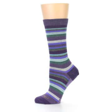 Image of Plum Purple Sassy Stripe Wool Women's Socks (side-2-11)