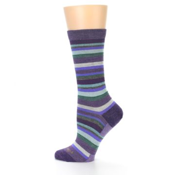 Image of Plum Purple Sassy Stripe Wool Women's Socks (side-2-12)