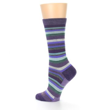 Image of Plum Purple Sassy Stripe Wool Women's Socks (side-2-13)
